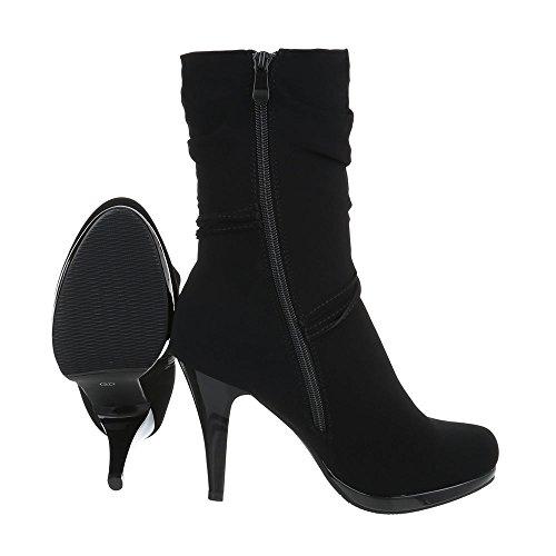 Botas Design de aguja Black para tacón Botines de en mujer Ital ffpSzr