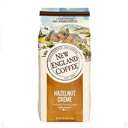 New England Coffee, Hazelnut Creme,  Medium Roast Ground Coffee, 22 Ounce Bag