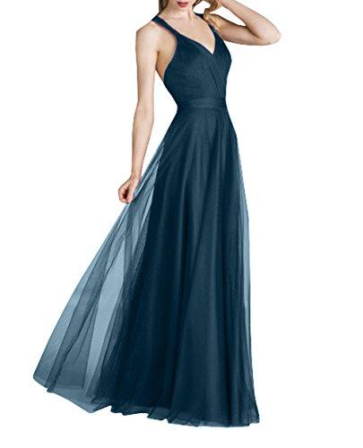 Lang Abendkleider mia Elegant A Festlichkleider Blau Tuell Tinte Rock Linie Brau Abschlussballkleider Ballkleider Brautjungfernkleider La 1AgSw