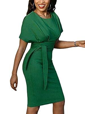 SCORP Women Short Sleeve Wear to Work Pencil Dress with Belt S-XXXL
