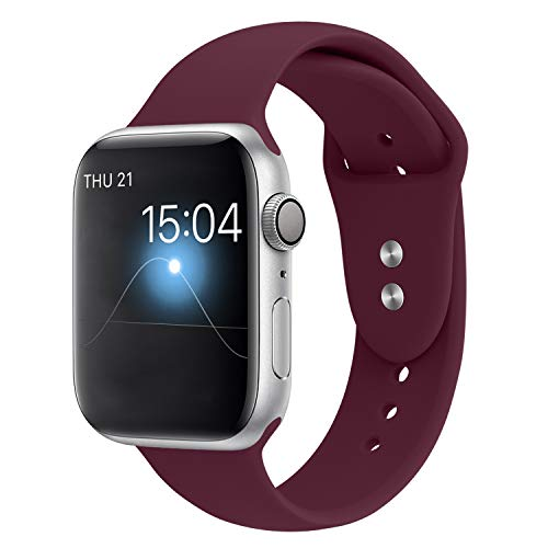YOUKEX Sport Band Compatible with Apple Watch 42mm/44mm, Soft Silicone Strap Wristbands Replacement for iWatch Series 4/3/2/1 Women Men, (Wine Red M/L)