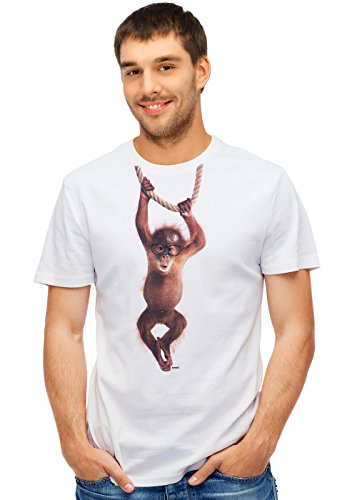 Retreez Funny Baby Orangutan Monkey Hanging On Rope Graphic Printed Unisex Men/Boys/Women T-Shirt Tee - White - Large