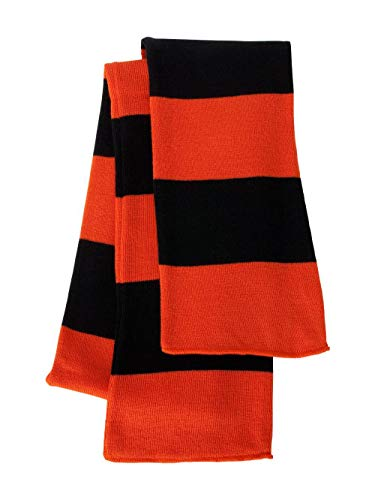 - Sportsman Rugby Striped Knit Scarf (SP02) Available in 20 Color Combinations Orange-Black
