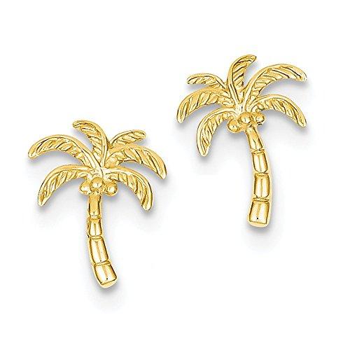 14k Tree Palm (14K Gold Palm Tree Post Earrings (0.55 in x 0.43 in))