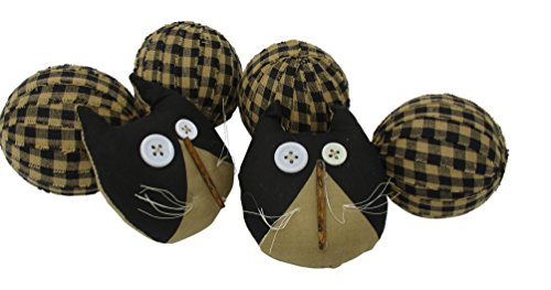 From The Attic Crafts Rag Balls and Primitive Cats Black and Tan Gingham Rag Balls Bowl Fillers
