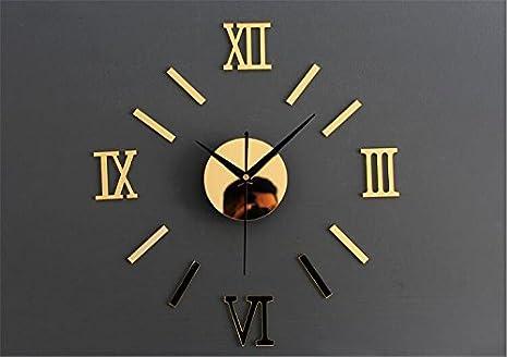 ZHUNSHI Tatuajes De Números Romanos Pared Reloj Espejo De Pared Reloj DIY Hogar Decorar Al Mudo De La Moda De Sala De Estar,14 Pulgadas,Oro: Amazon.es: ...