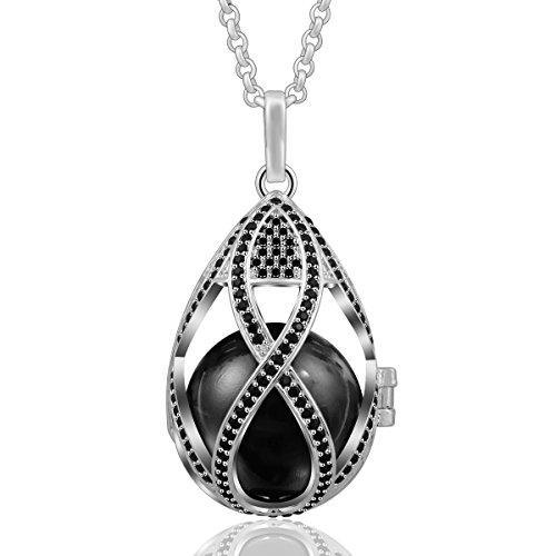 EUDORA Teardrop 20mm Rhinestone Harmony Bell Angel Caller Musical Locket Pregnancy Necklace, 30