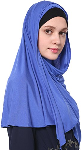 YI HENG MEI Women's Modest Muslim Islamic Soft Solid Cotton Jersey Inner Hijab Full Cover Headscarf,Sapphire