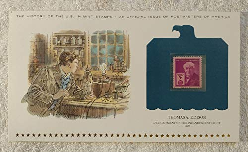 Thomas A. Edison - Development of the Incandescent Light - Postage Stamp (1947) & Art Panel - History of the United States: an official issue of Postmasters of America - Limited Edition, 1979 - Inventor, Light Bulb, Electricity