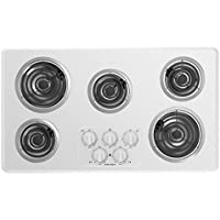 Amana ACC6356KF 36 Inch Wide Five Burner Electric Cooktop with Chrome Drip Pan, White