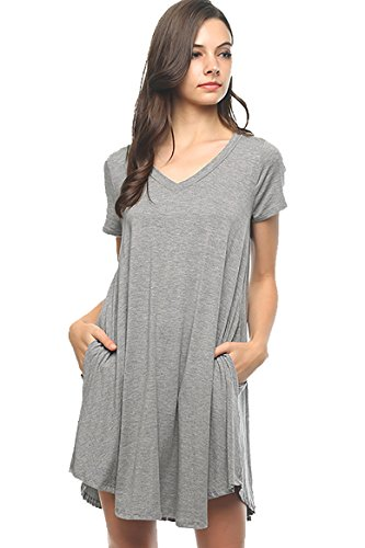 Price comparison product image Bamboo Fiber Knit Short Sleeve V-Neck T-shirt Dress (small,  dark grey )