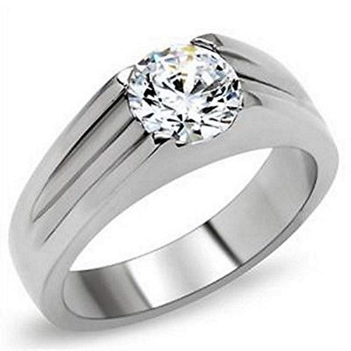 2ct Diamond Ladies Bezel - Great Dezigns Stainless Steel Men Women 2 Carat CZ Simulated Diamond Solitaire Band Ring (10)