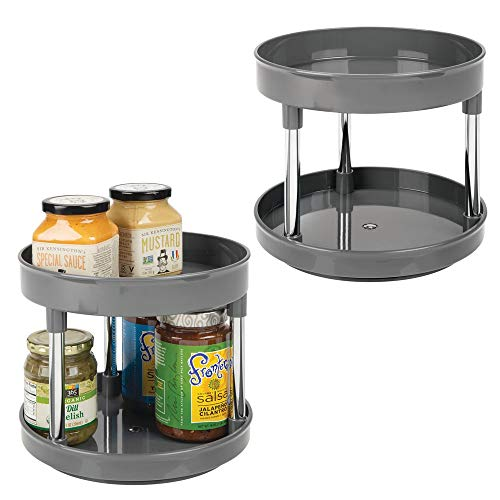 "mDesign 2 Tier Lazy Susan Turntable Food Storage Container for Cabinets, Pantry, Fridge, Countertops - Spinning Organizer for Spices, Condiments - 9"" Round, BPA Free, 2 Pack - Charcoal Gray"