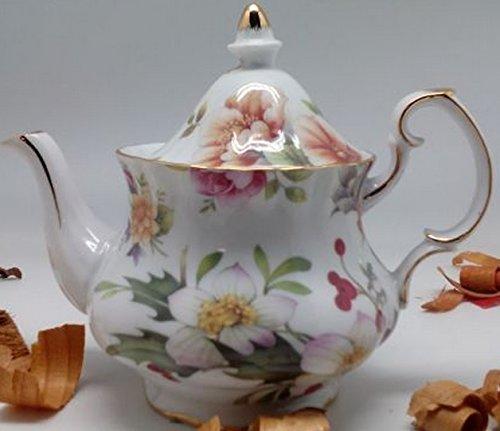 Fine Porcelain Colored Teapot Flowered Decor