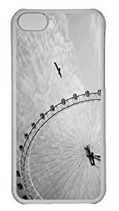 Customized iphone 5C PC Transparent Case - Ferris Wheel Monochrome Personalized Cover