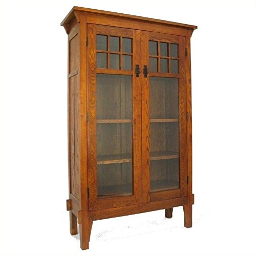 Wayborn Home Furnishing Bookcase with 2 Shelves, Oak Finish (Amish Glass Bookcase)