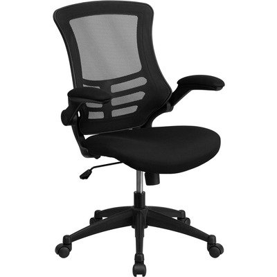 Flash Furniture BL-X-5M-BK-GG Mid-Back Mesh Chair with Nylon Base Black