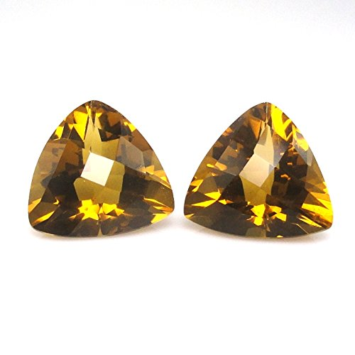 Trillion Earrings Quartz (Natural Whiskey Quartz Trillion Shape 11mm Matched Pair Approximately 8.00 Carat (4076))