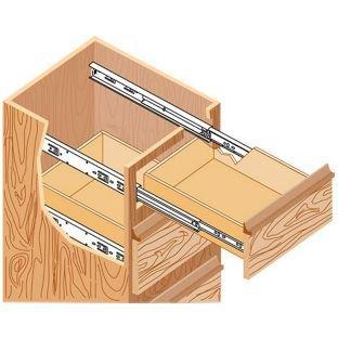 1 par Gu/ía de rodamiento met/álica para cajones de extensi/ón completa 300 mm