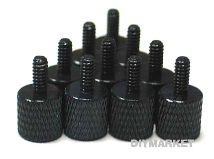10 x Black Anodized Aluminum Computer Case Thumbscrews (6-32 Thread) for Cover / Power Supply / PCI Slots / Hard - Anodized Case