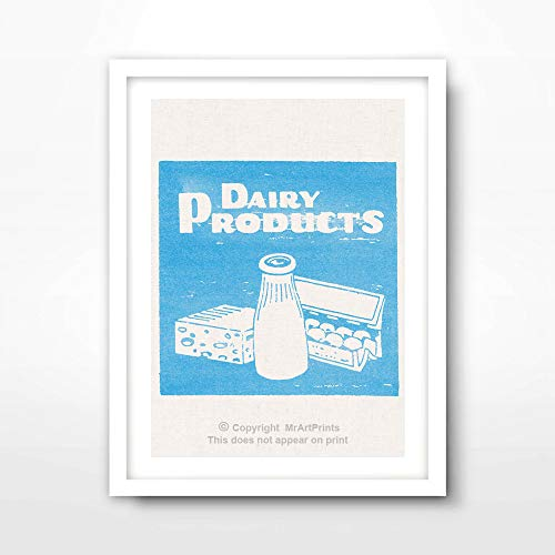 DAIRY MILK BLUE ART PRINT Food Drink Vintage Advertising Illustration Restaurant Cafe Kitchen Home Decor Bright Color Colorful Wall Picture A4 A3 A2 (10 Sizes) -  MrArtPrints