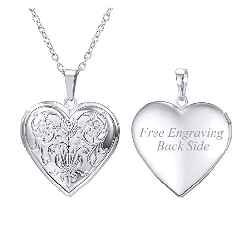 U7 Charm Necklace Flower Pattern Platinum Plated Heart Photo Locket Pendant with 22 Inches Chain, Custom Text Engrave Back Side