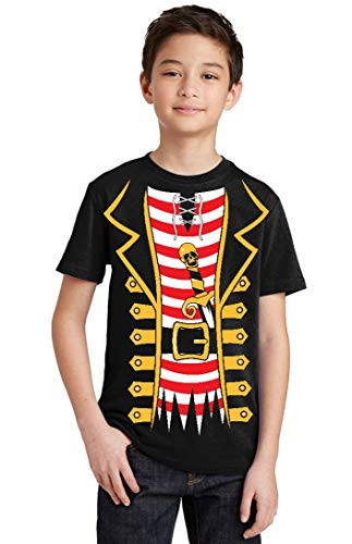 Promotion & Beyond Pirate Tuxedo Skull Sword Halloween Costume Youth T-Shirt, Youth M, -