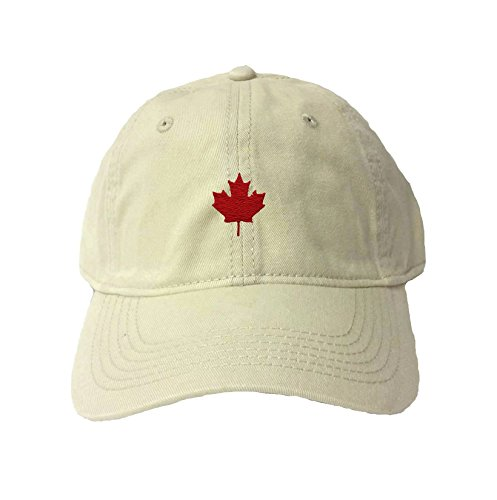 Adjustable Stone Adult Canada Maple Leaf Embroidered Deluxe Dad Hat
