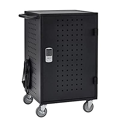 ECR4Kids 30 Bay Locking Laptop/Tablet Charging Station Cartwith Keypad Entry, Black