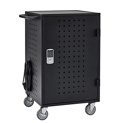 ECR4Kids 30 Bay Locking Laptop/Tablet Charging Station Cart with Keypad Entry, (Black Keypad)