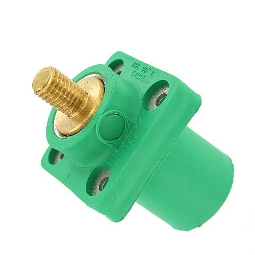 Leviton 16R23-UG 16-Series Taper Nose, Male, Panel Receptacle, 90°, Threaded Stud, Cam-Type Connector, Green