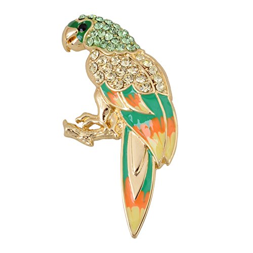 Crystal Parrot Pin (Fenni Cute Multicolor Enamel Painted Pirate Tropical Perch Parrot Bird Rhinestone Crystal Pin Brooch (Gold))