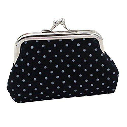 (Clearance Small Wallet for Women Girls Polka Dot Mini Coin Purse Kiss-lock Card Holder Change Pouch (9X7cm, Black))