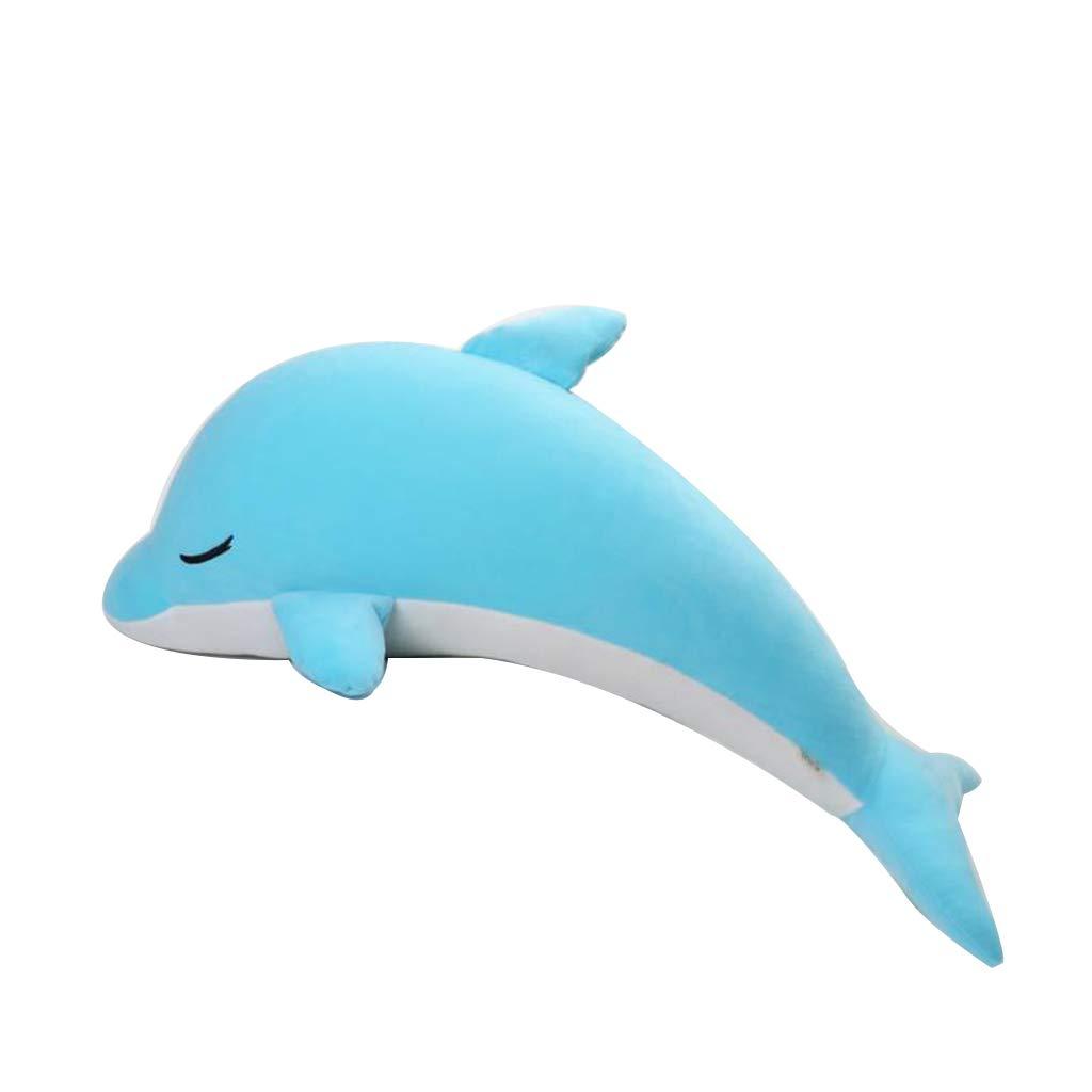 Delphin Plüschtier Schlafen Wal Kissen zu senden Mädchen Geburtstagsgeschenk Rosa Blau 80cm (Farbe   Blau) Blau