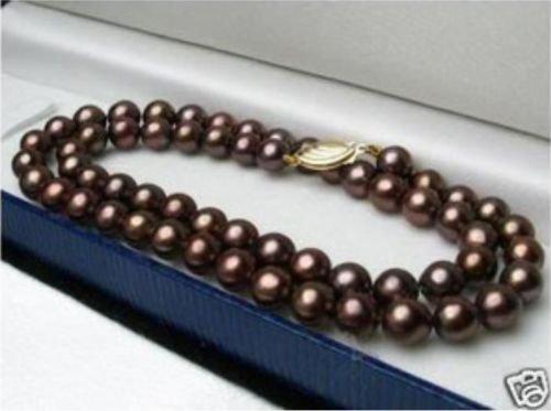 Gozebra(TM) Pretty 8mm Chocolate Brown South Sea Shell Pearl Necklace 18