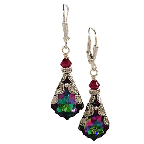 HisJewelsCreations Electra Baroque Crystal Vintage Inspired Silver-Tone Filigree Earrings