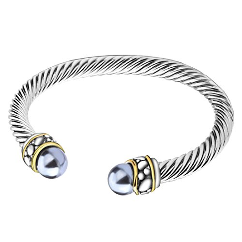UNY Twisted Cable Wire Cuff Bangles Imitation Pearl Bracelet Bangle for Women Fashion (Silver Tone Pearl Twisted Bracelet)
