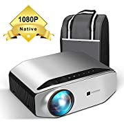 """#LightningDeal Native 1080p Projector - GooDee YG620 Newest LED Video Projector/ 6000Lux/ 300"""" Display/ Contrast 7000: 1/ Compatible with Firetv, HDMI, VGA, USB, Laptop and Smart Phone for Powerpoint Presentation"""