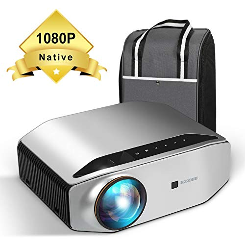 Native 1080P Projector - GooDee YG620 Newest LED Video Projector / 6000Lux / 300'Display / Contrast 7000:1 / Compatible with FireTV, HDMI, VGA, USB, Laptop and Smart Phone for PowerPoint Presentation