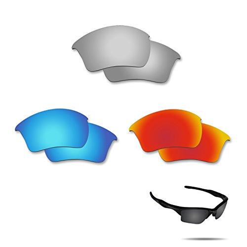 Fiskr Anti-saltwater Polarized Replacement Lenses for Oakley Half Jacket 2.0 XL 3 Pair - Lenses Original Half Jacket Oakley