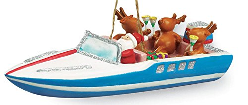 Cape Shore SS Santa and Reindeer Party Boat Christmas Holiday Ornament