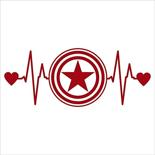 Captain America Cake Ideas (CCI Captain America Heartbeat Decal Vinyl Sticker|Cars Trucks Vans Walls Laptop| RED |6.5 x 2.75)
