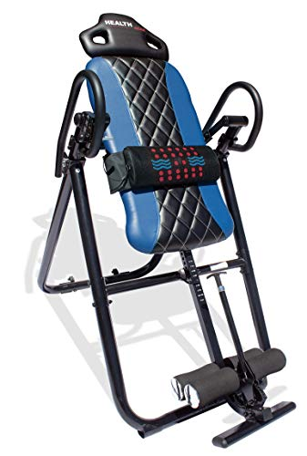 Health Gear HGI 4.2 Patent Pending Diamond Edition Heat & Vibration Massage Inversion Table, Blue – Heavy Duty up to 300 lbs.