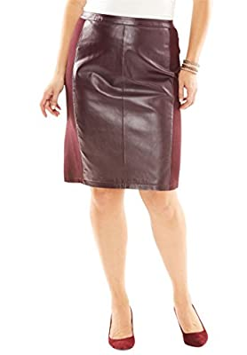 Jessica London Women's Plus Size Leather And Ponte Knit Skirt