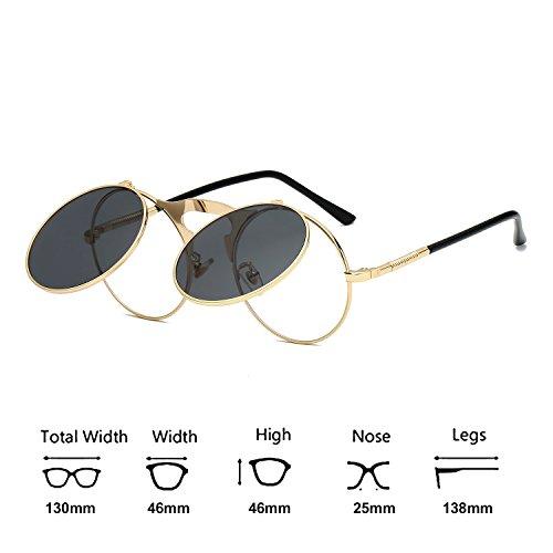 259ebf7fa53 VeBrellen Retro Men Glasses Round Flip-Up Steampunk Sunglasses Clamshell  Metal Frame Sunglasses (Gold Frame With Gray Lens