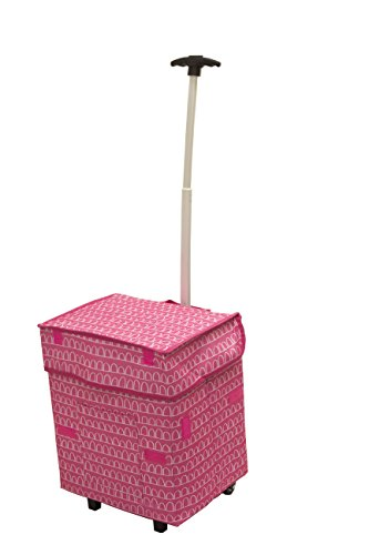 Presenters Cart (Smart Cart, Pink Arches Rolling Multipurpose Collapsible Basket Cart)