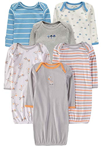 Wan-A-Beez Baby Boys and Girls Long Sleeve Baby Gown - Multi Pack (0-6 Months, Car/Giraffe 6-Pack) ()