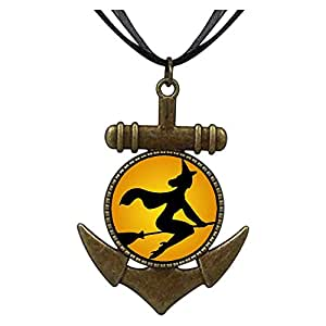 Chicforest Bronze Retro Style witch on broomstick fly Anchor Pendant