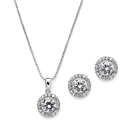 Chain And Studs Necklace - Mariell 10.5mm Cubic Zirconia Round Halo Necklace & Earrings Wedding Jewelry Set for Brides & Bridesmaids