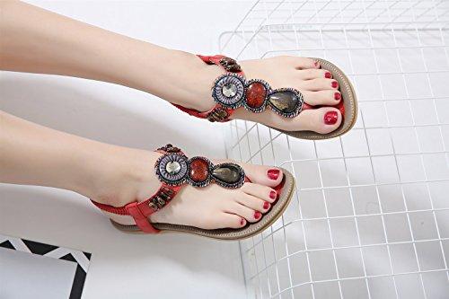 di Moda di Nuovi esterni Pantofole perline Sandali estate interni Accappatoi per ed delle XIAOQI sandali antiscivolo Boemia donne con Rosso w1vq1fx